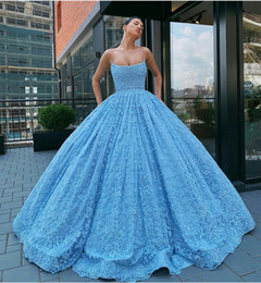$enCountryForm.capitalKeyWord Australia - 2020 Appliques Blue Ball Gown Prom Dresses Spaghetti Lace Floor Length Gorgeous Evening Gowns Custom Made Free Petticoat Party Dress