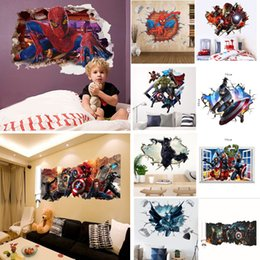 Discount stereo cans - Spider Man children bedroom stereo Wall Paster Background Decorative Marvel Film Super Heroes Painting Art Decal Wall St