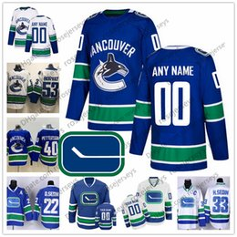 3b4fa8261fb VancouVer hockey jerseys online shopping - Custom Vancouver Canucks Blue  White Third Jersey Any Number Name