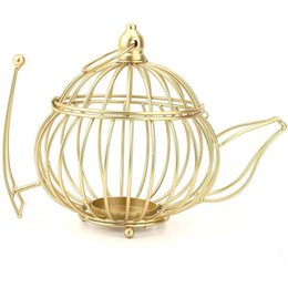 shape lamp acrylic NZ - Gold Metal Crafts Wedding Props Hotel Accessories Candle Holder Metal Teapot Shape Candle Holder Home Decoration SAtyle a Large