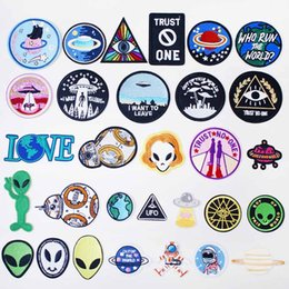 $enCountryForm.capitalKeyWord Australia - Alien UFO ET Iron On Patches Badges for Sew Seam Tailoring Clothes Suits of Coat Jacket Trousers T-shirt Pants Ornament Apparel