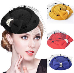 $enCountryForm.capitalKeyWord Australia - Bride headdress Korean version of stewardess hat, hairpin, hat, hairpin, veil, Lace Bow