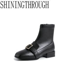 boot carving 2019 - Women Genuine Leather Boots Brogue Carved Ankle Boots Fashion Low Heels Ladies Booties Autumn Shoes Woman