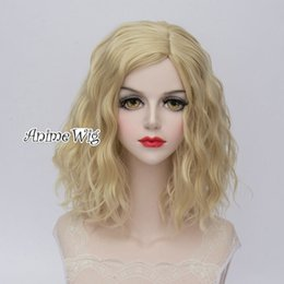 lolita wigs blonde 2019 - 35CM Fancy Women Party Light Blonde Lolita Curly Cosplay Wig Heat Resistant >>>>>Free shipping New High Q