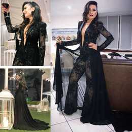 evening gowns lace shawls NZ - Deep V Neck Shawl Lapel Women Jumpsuits Sexy Black Lace Long Sleeves Evening Dresses Formal Party Prom Gowns with Chiffon Overskirt