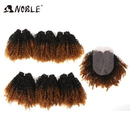 curly synthetic lace closure NZ - 2020 New Noble Ombre Synthetic Hair Clsoure Middle Part 7pcs lot Afro Kinky Curly Hair Bundles With Closure For Black Women