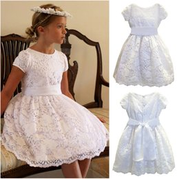 White Communion Dresses Short Australia - 2019 High Quality Lace Girls Holy Communion Gowns Tea Length Jewel Neck Short Sleeves Bow Belt Buttons Back White Kids Party Dresses