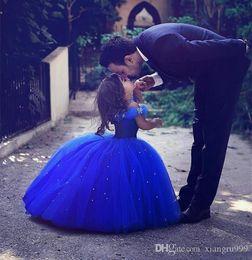 $enCountryForm.capitalKeyWord Australia - Long Princess Cinderella Flower Girl Dresses For Weddings Off-the-shoulder Floor Length Ball Gown Blue Girl Pageant Dress For Wedding