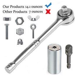 "Tools Drills Adapter Australia - Universal Socket Wrench Set 1-3 4"", Car Auto Hand Tools Repair Kit With Power Drill Adapter Chrome Vanadium Steel Lightweight Easy"