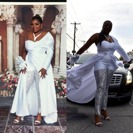 $enCountryForm.capitalKeyWord Australia - 2020 Plus Size White Women Jumpsuits With Detachable Train One Shoulder Lace Sequined Prom Dress Party Wear Custom Made Girls Evening Gowns