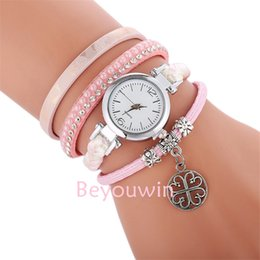 bd18b5c58 100pcs lot fashion mini belt weave wrap around watch for women round  pendant crystal lady bracelet leather watch for girl