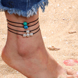 Blue Pearls Jewelry Set NZ - 4Pcs set 2019 New Pearl Blue Green White Turquoise Anklet for Women Bohemian Handmade Woven Wax Rope Anklet Adjustable Bracelet Jewelry