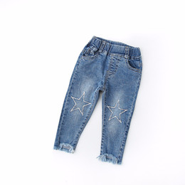 2d0ef03a7 Cute Cartoon Embroidery Stars Pattern Kids Jeans Spring Autumn Lovely High  Quality Children Pants Casual Trouses Baby Girl Jeans