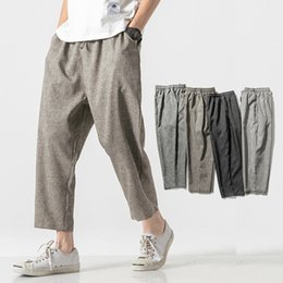 bloomers trousers NZ - Men Pants linen Wide Crotch Harem Pants Loose Large Cropped Trousers male Wide leg Bloomers Baggy trousers pantacourt homme