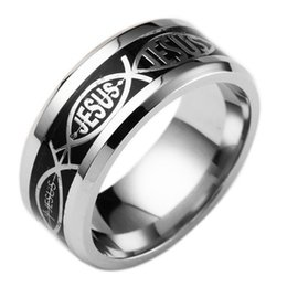 wholesale statement rings Australia - Hip Hop Jesus Couple Rings Stainless Steel Letter 8mm Band Ring for Women Men Vintage Finger Rings Size6-13 Punk Statement Jewelry