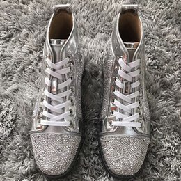 Worldwide Shoes Australia - Luxury Sneakers Shoes For Men,Women Rhinestone Red Bottom High Top Crystal Casual Walking High-top Leisure Flats Worldwide Delivery