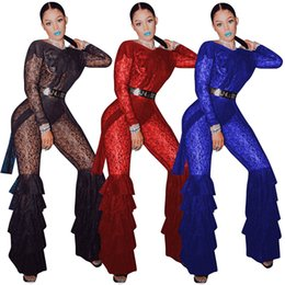 China 2019 Stunning See Through Lace Women Jumpsuits Sexy Backless Long Sleeves Ruffles Tiered Leg Long Pants Outfits for Party Club Night Out cheap black skinny leg jumpsuit suppliers
