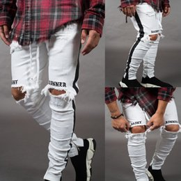 Mens sliM white jeans online shopping - Brand New Fashion Mens Designer Jeans Mens High Quality Distressed Zipper Jeans Casual Trousers Mens Designer Slim Biker Denim Pants