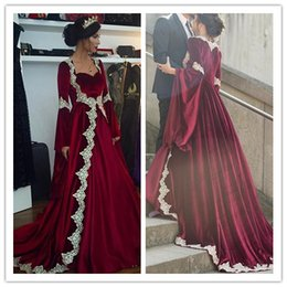 1876f87b15e Burgundy Muslim Evening Dresses 2019 A-line Long Sleeves Velvet Lace Formal  Islamic Dubai Saudi Arabic Long Elegant Evening Gown