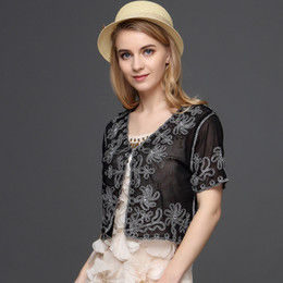 $enCountryForm.capitalKeyWord Australia - Muslim Style Summer Thin Short Sleeve V Neck Women Cardigan Bolero Embroidery Floral Rhinestone Lace Mesh Shrugs Jacket