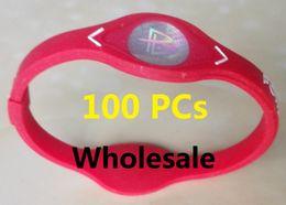 Toptan satış DHL Ücretsiz 100 Adet Güç Enerji Bileklik Kadın Erkek Spor Bileklikler Dengesi İyon Manyetik Terapi Silikon Bilezik Güç Enerji spor Bilezik