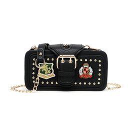 $enCountryForm.capitalKeyWord UK - Embroidery Rivet Women Shoulder Bag Chain Strap Flap Designer Handbags Clutch Bag Ladies Messenger Bags With Metal Buckle