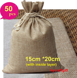 wholesale vintage linens Canada - 15x20cm vintage Small Double layer Natural Linen drawstring bags Gift hessian Wedding Party favor bag Jewelry Pouches Jute Cases Burlap Sack