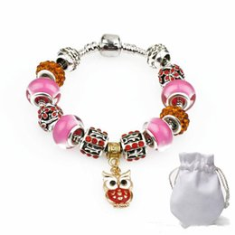 pink owl chain Australia - 2019 New Silver Chain Clasp Cuff Bracelets Women Pink Crystal Glass Beads Diamond Beads Fit Charm Bracelets Gold Owl Pendant