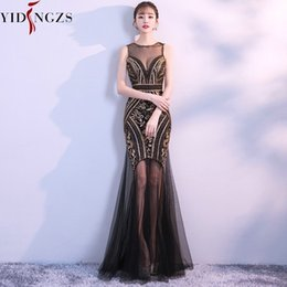 $enCountryForm.capitalKeyWord Australia - Robe De Soiree Yidingzs Black Gold Sequins Beading Long Evening Dresses Sexy Prom Party Dress 2019 New Arrive Y19072901