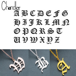 9a01b2244b Chandler DIY Tiny Rose Gold Color Initial Necklace Gold Color Silver Letter  Necklaces Initials Alphabet Name Choker Old English