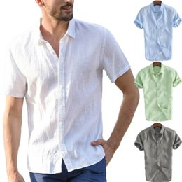 Wholesale cool summer blouses white online – 2019 Fashion Mens Short Sleeve White Shirt Summer Cool Loose Casual Turn down Collar Shirts Tops Solid Soft Blouse hot