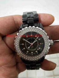Ladies Gems Australia - Fashion Wristwatches 34MM H4189 black dial diamond bezel Asian Movement black Ceramic VK Quartz Chronograph Ladies Women's Watch Watches