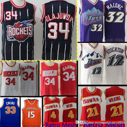 a503820db8b Houston Retro Mesh Rockets Abdul 34 Olajuwon Jersey Utah Mens Karl Malone  32 John 12 Stockton Dominique 21 Wilkins 4 Webb