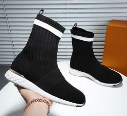 $enCountryForm.capitalKeyWord Australia - New Autumn and Winter Elastic Wool Boots Women Knitted Slim Legs Martin Boots Alphabet Short Cylinder Flat Bottom Socks Boots