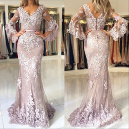 Covered button Celebrity dresses online shopping - Glamorous Mermaid Rose Pink Prom Evening Dresses Sheer Long Sleeves Applique Lace Satin Sweep Train Formal Celebrity Gowns