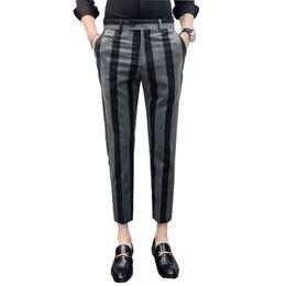 Pantalones a estrenar de los hombres de la moda de los caballeros de rayas vestido de traje social informal pantalón de la venta caliente Slim Fit pantalones hombres ropa para hombre pantalones en venta