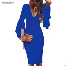 works bell Australia - Sexy Womens Deep V-Neck Pencil Bell Long Sleeves Elegant Work Business Casual Party Slim Sheath Bodycon Flare Dress 1592 Designer Clothes