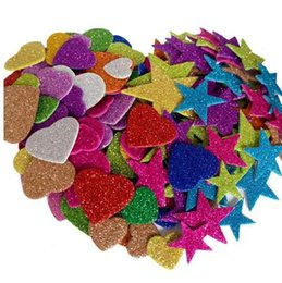$enCountryForm.capitalKeyWord UK - 1pack Mixed Color Size Foam Glitter Stickers Star Shapes Wedding Decoration Crafts Heart Shapes DIY Decoration Birthday Party