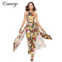 European and American sexy dress new Amazon women s dress foreign trade and  ankle long skirt summer chiffon tie belt exposed back 6c4108755b5a