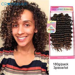 Crochet Trenzas Deep Wave 3 Bundles Jerry Curly Extensiones de cabello sintético Ombre Deep Freetress trenzas trenzas de pelo 3 unids / lote