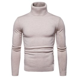 $enCountryForm.capitalKeyWord Australia - Mens Autumn Winter Sweaters Fashion Solid Panelled Sweaters Long Sleeved Knitted Turtle Neck Sweatshirts Casual Slim Mens Clothing