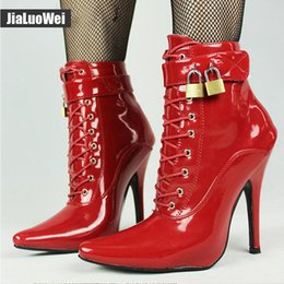 Purple Martin Boots Australia - 2019 New 12cm Martin Boots Man High heel sexy Shoes Fetish Pointed Toe Stiletto Ankle Strap Boots Women with padlocks DWT TV CD