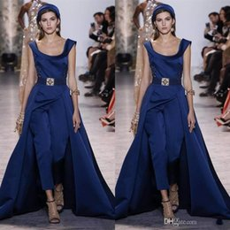 Blue Plus Size Jumpsuit Australia - Ellie Saab Jumpsuit Prom Dresses With Detachable Skirt 2018 Sweep Train Satin Navy Blue Dress Evening Wear Party Gown Plus Size