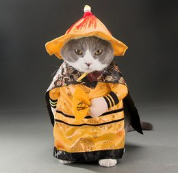 2020 Pet Dog Cat Funny Clothing Halloween Party Cosplay Emperor Costume Dog Christmas Dress Suit Pet Upright Finery Clothes Jacket