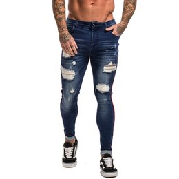 knee length pants for men UK - Man Jeans For Men Hip Hop Super Skinny Men Jeans Stretch Blue Jeans Designer Brand Fashion Slim Fit Dropshipping