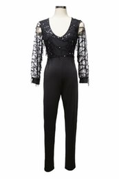 $enCountryForm.capitalKeyWord NZ - Black Sequin Embellished Mesh Sleeve Fitted Long Sleeve Skinny Jumpsuit Autumn Party Women Sexy Metallic Fringe Jumpsuits