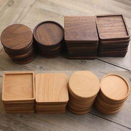 Wholesale Wooden Coasters Black Walnut Coffee Tea Cup Mats Wooden Cup Mat Bowl Pad Teapot Drink Coasters Home Bar Tools