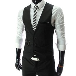 China 2019 New Arrival Dress Vests For Men Slim Fit Mens Suit Vest Male Waistcoat Gilet Homme Casual Sleeveless Formal Business Jacket suppliers