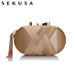 small bridal clutches Canada - SEKUSA Bow Metal Women Day Clutches Tassel Luxurious Fashion Lady Evening Bags Small Party Wedding Bridal Chain Shoulder Handbag CJ191210