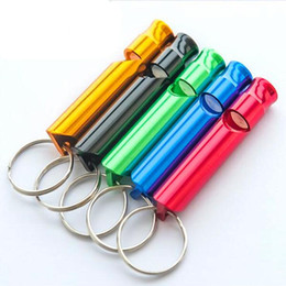 Wholesale Mini Aluminum Alloy Whistle Keyring Keychain For Outdoor Emergency Survival Safety Sport Camping Hunting Random Color whistle